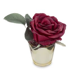 Декор – бордовая роза в горшочке ROSE IN SMALL POT 10*8 (Red)