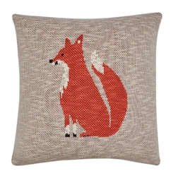 Декоративная подушка с рисунком рыжей лисы FOX KNITTED 40*40 (Natural)