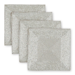 Подставки под чашки из бисера BEADED SET OF 4 COASTERS 10*10 (Silver)