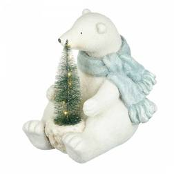Новорічний декор Frosted Sitting Bear & LED Tree Decoration 33 * 30 * 6 (White)