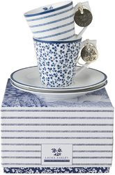 Набор чашок з блюдцами CANDY STRIPE & FLORIS SET OF 2: ESPRESSO CUP 6*6, 90ml & SAUCER Ø12 (Blue)