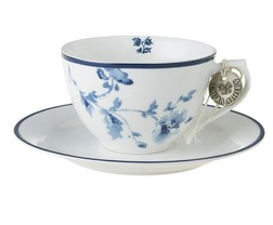 Чашка с блюдцем CHINA ROSE CAPPUCCINO CUP 10*7, 260ml & SAUCER Ø15 (Blue)