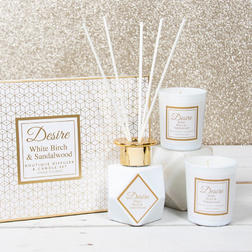 Нежный и стильный набор BIRCH & SANDALWOOD DIF 100ml & 2 MINI CANDLES SET (White)