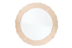 Круглое зеркало в зеркальной раме розового цвета LOVARA ROUND Ø100 (Rose Gold)