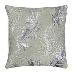 Прекрасная декоративная подушка серого цвета в перья PLUME EMB 45*45 (Grey)