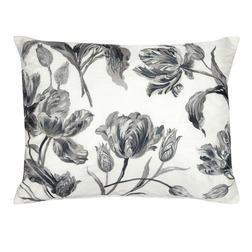 Прямоугольная подушка с черно-белой вышивкой тюльпанов GOSFORD 40*50 (Charocal)