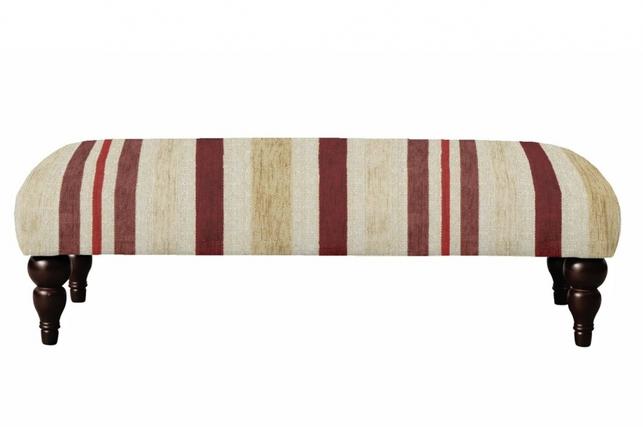 Пуфик в широкую полоску бордового цвета VAUGHAN 33*107*53 (BAND D/Maxwell Cranberry)