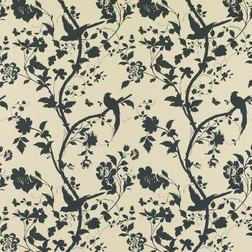 Бумажные обои с рисунком птиц и растительности черного цвета ORIENTAL GARDEN (Natural/Charcoal)