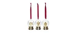 Новогодний декор из трех елочных игрушек SNOWGLOBE MINI GLOBES SET OF3 (Gold)