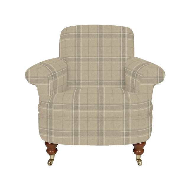 Красивое английское кресло в ткани в клетку HARBROOK CHAIR 82*88*97 (Band E/Highland Check Natural)