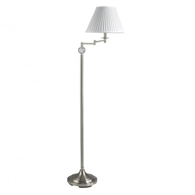 Торшер стального цвета с абажуром MALONE FLOOR LAMP 156*55 (Chrome)