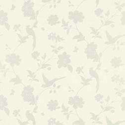 Бумажные обои с рисунком силуэта птиц и растительности белого FARLEIGH (White)
