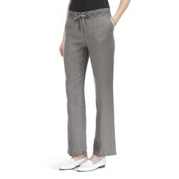Льняные брюки прямого кроя серого цвета на завязках TR 799