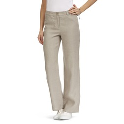 Льняные брюки бежевого цвета прямого кроя в вертикальную полоску TR 840