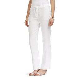Белые прямые штаны на завязках из льна TR 855