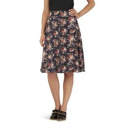 Легкая юбка темно-синего цвета с красочным цветочным узором MS 790