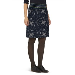 Хлопковая юбка темно-синего цвета с цветочной вышивкой серого цвета MS 898