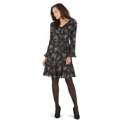 Платье черного цвета с длинным рукавом и цветочным узором MD 084