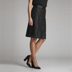 Двуслойная черная юбка с цветочной аппликацией MS 928