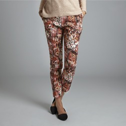 Зауженные брюки с высокой талией и красочным цветочным принтом TR 942