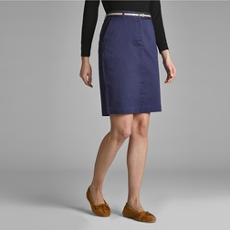 Прямая юбка чинос темно-синего цвета с тонким ремешком MS 777
