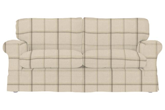 Раскладной диван в клетку бежевого цвета PADSTOW 2STR SFBD 89*175*96 (Band F/Loxley Stripe Natural)