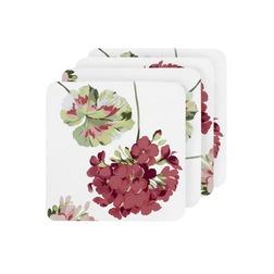 Набор подставок под чашку в яркие цветы GERANIUM SET 4 COASTERS (Cranberry)