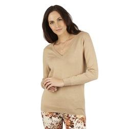 Легкий свитер цвета кофе с молоком с глубоким V-образным вырезом JP 249