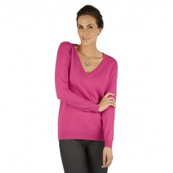 Легкий свитер нежно-розового цвета с глубоким V-образным вырезом JP 249