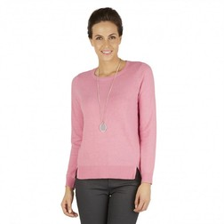Хлопковый свитер нежно-розового цвета с длинным рукавом JP 270