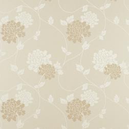 Тонкие бумажные обои в белые и бежевые цветы хризантемы ISODORE (Linen)