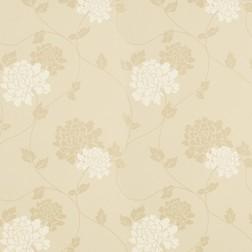 Бумажные обои в крупные цветы хризантемы на фоне цвета шампанского ISODORE (Champagne)
