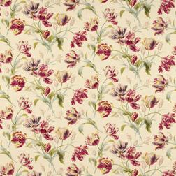 Гардинная ткань в яркие цветы тюльпана GOSFORD (Cranberry)