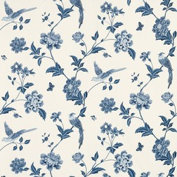 Бумажные обои с синим рисунком птиц и растительности ELVEDEN (Sapphire)