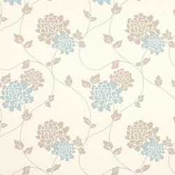 Бумажные обои с крупным цветочным рисунком голубого и светло-коричневого цвета ISODORE (Duck Egg/Tru