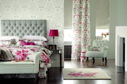 Красивая гардинная ткань из хлопка с цветочным рисунком MANSFIELD (Cranberry)