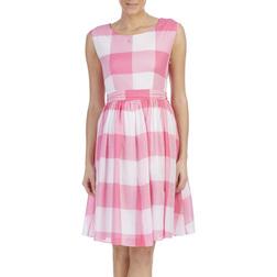 Хлопковое платье летящего кроя в крупную клетку розового цвета MD 797