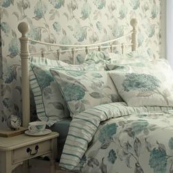 Набор постели с пододеяльником двойного размера в крупные голубые цветы HYDRANGEA DB 200*200, 50*75