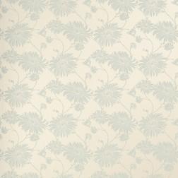 Тонкие бумажные обои в голубые цветы хризантемы KIMONO (Duck Egg/Linen)