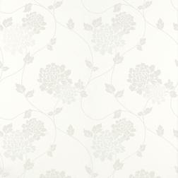 Бумажные обои в крупные цветы хризантемы на фоне белого цвета ISODORE (Cotton White)