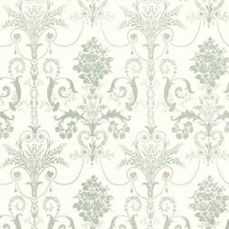 Бумажные обои с роскошным рисунком светло-зеленого цвета JOSETTE (Eau De Nil/White)