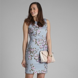 Платье серо-голубого цвета без рукава с цветочным узором MD 216