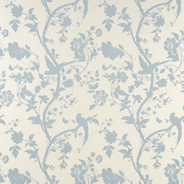 Бумажные обои с рисунком птиц и растительности голубого цвета ORIENTAL GARDEN (Duck Egg)