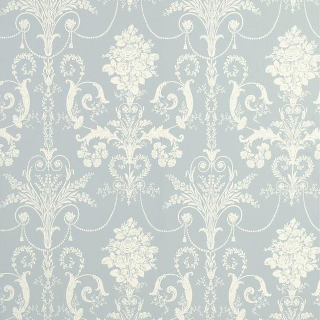 Бумажные обои светло-голубого цвета с роскошным белым рисунком JOSETTE (Seaspray)