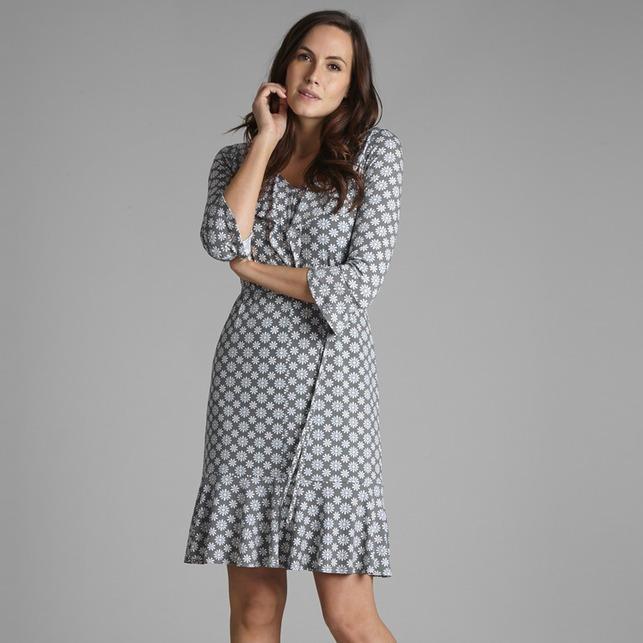 Платье серого цвета с длинным рукавом и цветочным узором MD 171