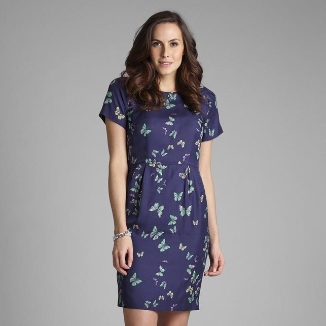 Приталенное платье темно-синего цвета с принтом в бабочки MD 178