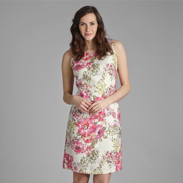Приталенное платье кремового цвета изо льна с цветочным узором MD 274