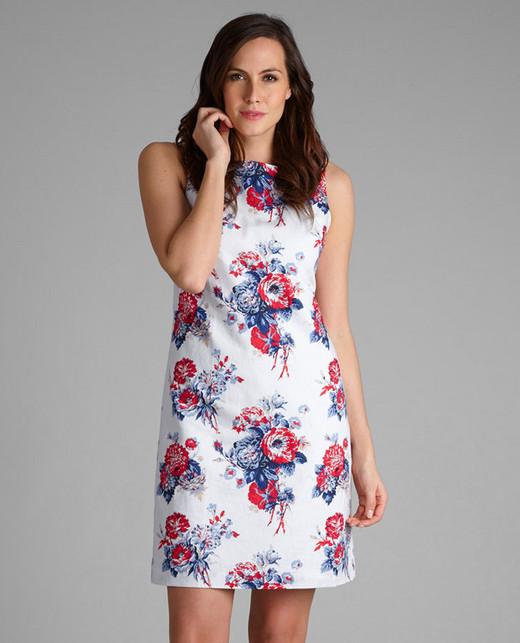 Платье белого цвета с цветочным узором в сине-красных тонах MD 205