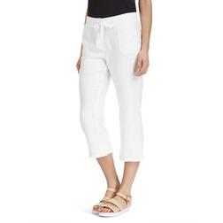 Белые штаны капри на завязка из льна TR 856