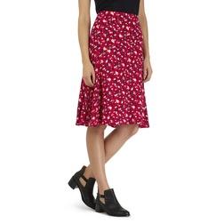 Легкая юбка красного цвета в мелкий цветочный принт MS 767